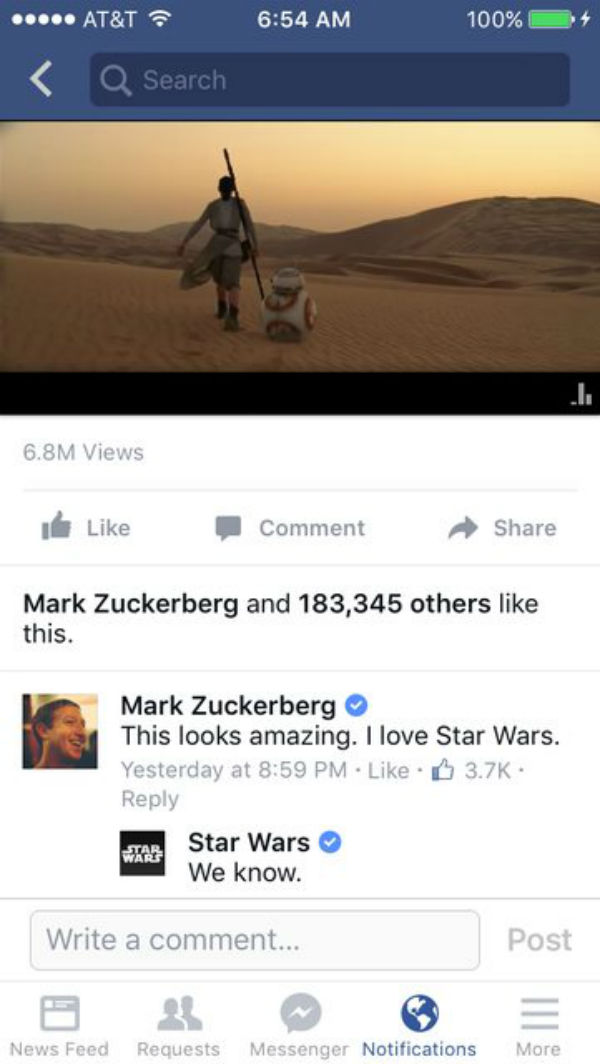 Star Wars El Despertar De La Fuerza La Respuesta Al Comentario De Mark Zuckeberg Sobre El