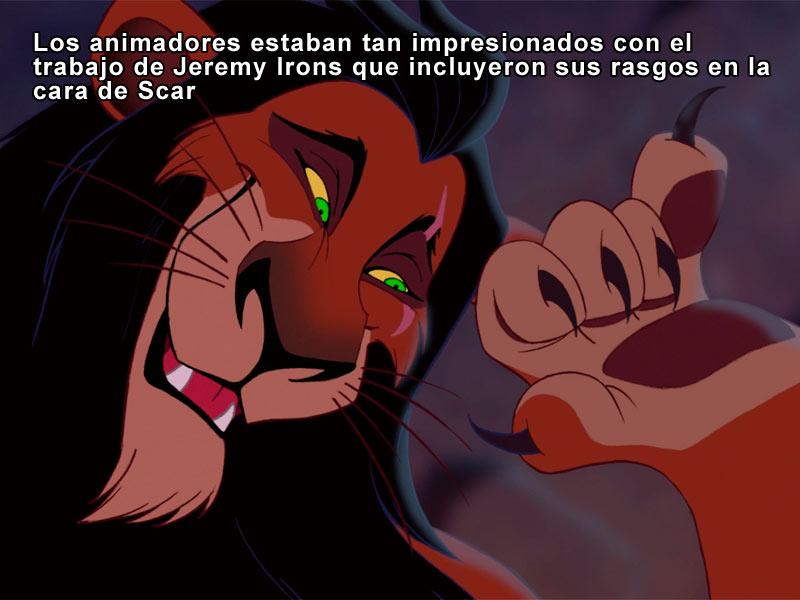 Los animadores estaban tan impresionados con el trabajo de Jeremy Irons que incluyeron sus rasgos en la cara de Scar