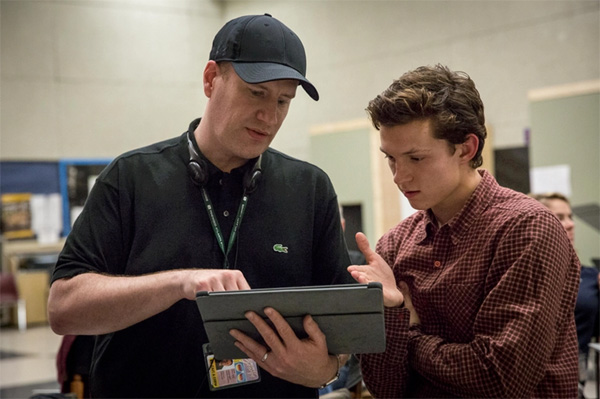Kevin Feige y Tom Holland