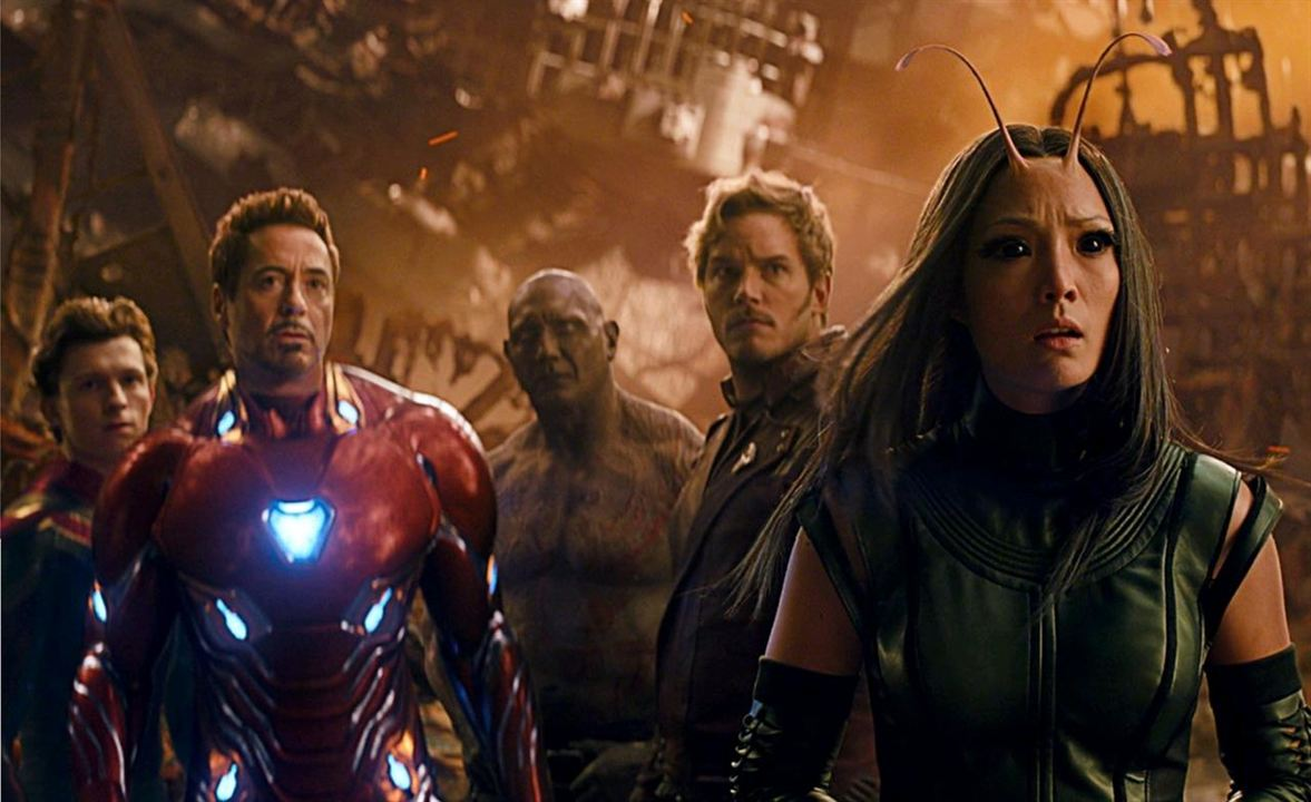 Spider-Man/Peter Parker, Iron Man/Tony Stark, Drax, Star-Lord/Peter Quill y Mantis