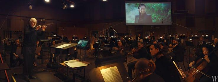 John Williams trabajando en una escena con Leia