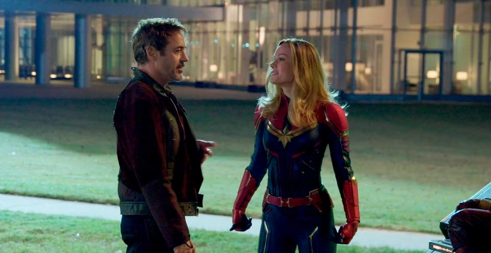 Robert Downey Jr. and Brie Larson after the rescue of Iron Man