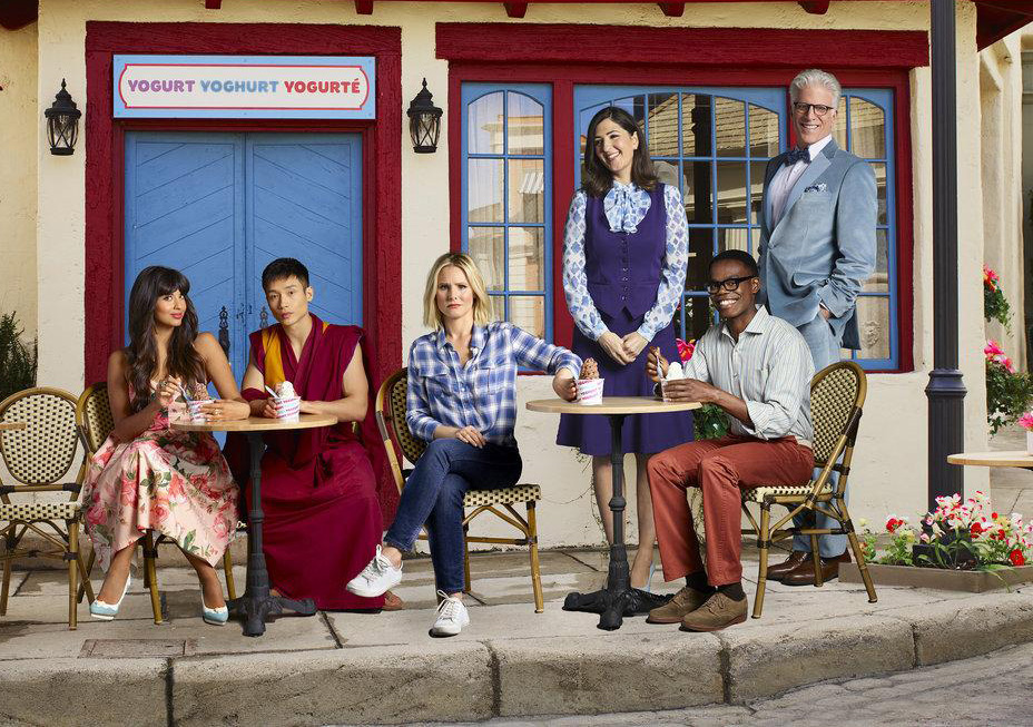 Foto D'Arcy Carden, Jameela Jamil, Kristen Bell, Manny Jacinto, Ted Danson