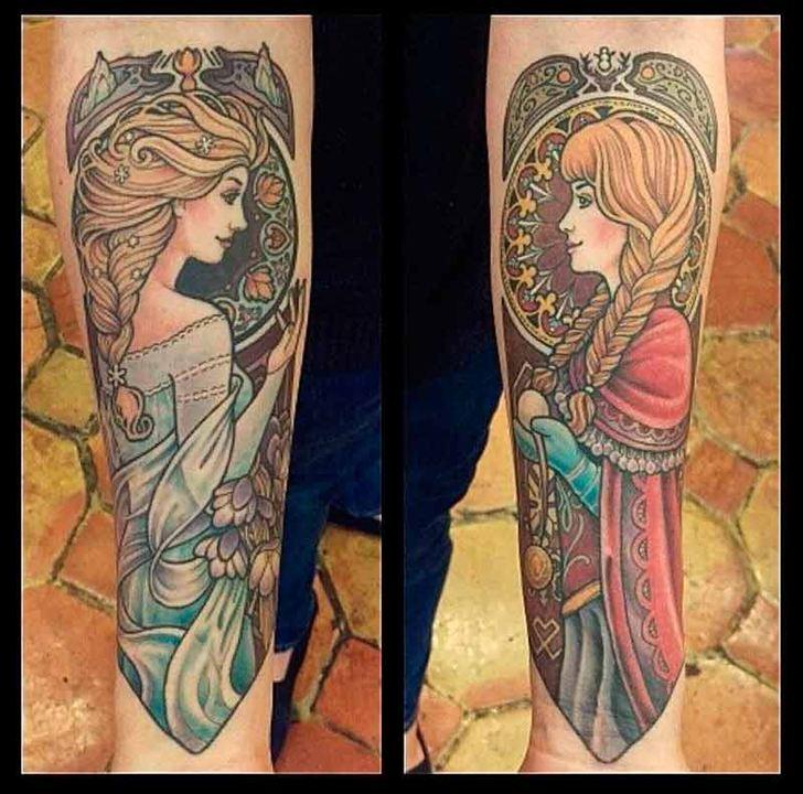 Anna y Elsa a lo 'Art Nouveau'