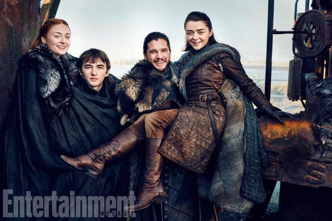 Sansa, Bran, Jon Nieve y Arya