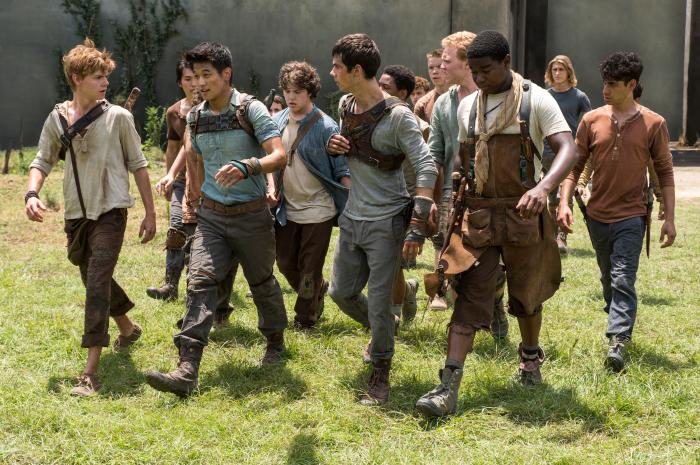 El corredor del laberinto: Dexter Darden, Dylan O'Brien, Ki Hong Lee, Thomas Brodie-Sangster