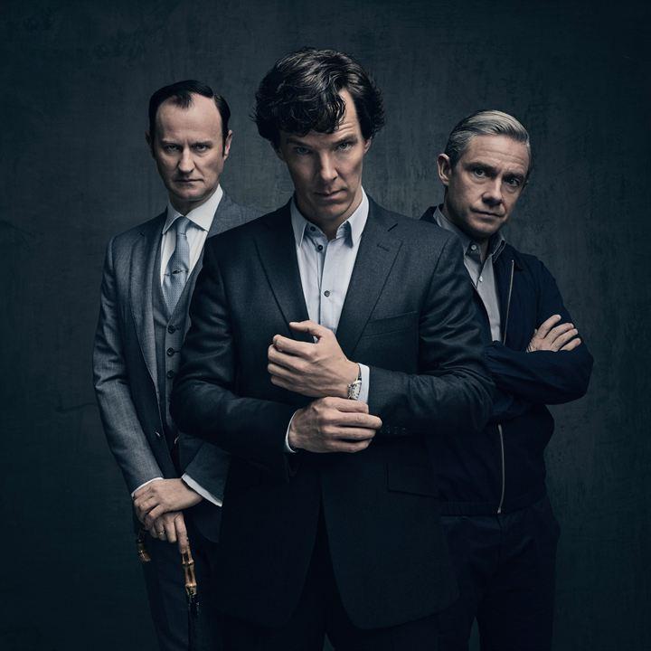 Foto Benedict Cumberbatch, Mark Gatiss, Martin Freeman
